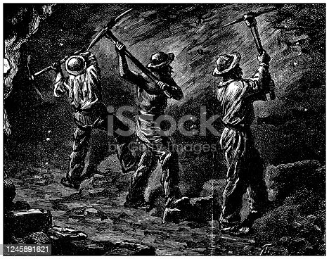 Antique illustration: Coal mine workers