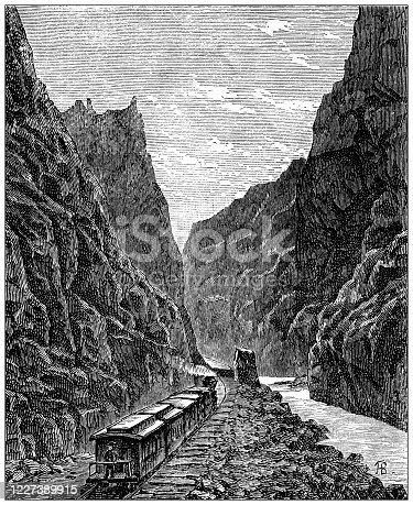 Antique illustration: Colorado railway
