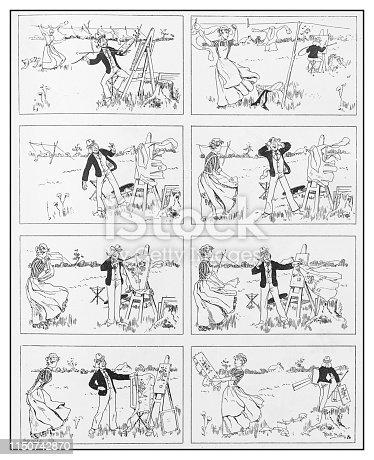 Antique illustration: Comic cartoon
