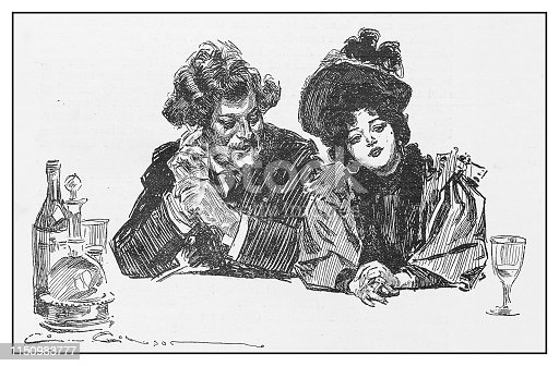 Antique illustration: Couple drinking