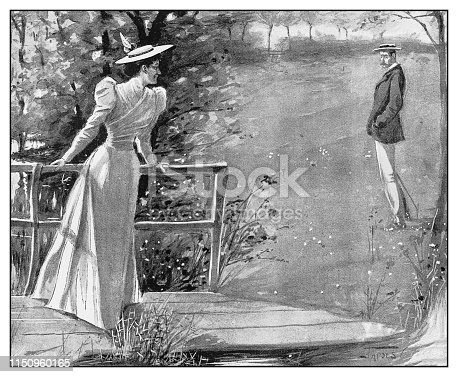 Antique illustration: couple in nature