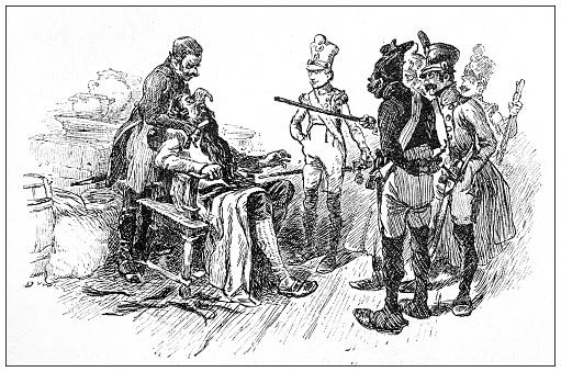 Antique illustration: cutting beard