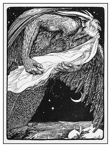 Antique illustration: Danhasch carries off the princess Badoura by J D Batten