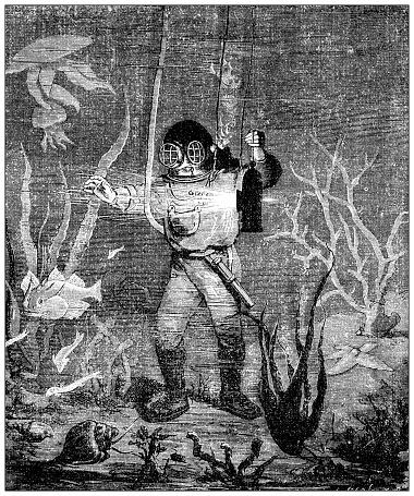 Antique illustration: Deep sea diver