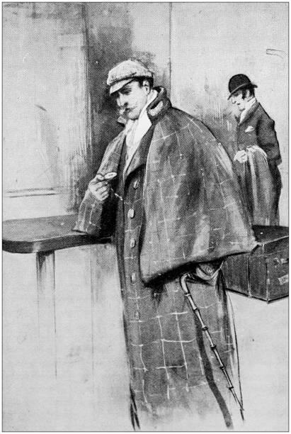 Antique illustration: Detective Antique illustration: Detective sherlock holmes stock illustrations