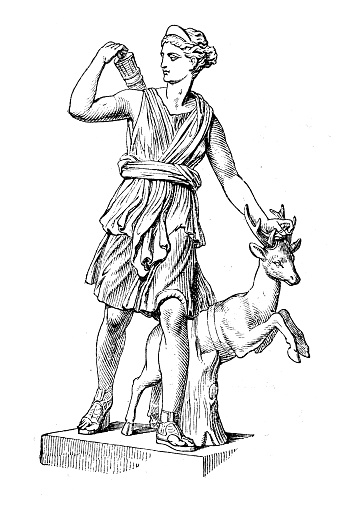 Antique illustration: Diana of Versailles or Artemis, Goddess of the Hunt