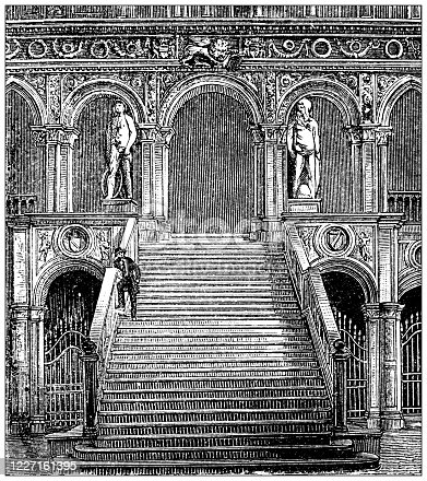 Antique illustration: Doge's Palace, Venice