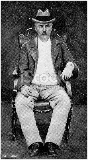 Antique illustration: Don Juan Idiarte Borda, president of Uruguay