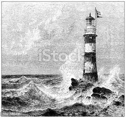 istock Antique illustration: Eddystone Lighthouse 1241586495