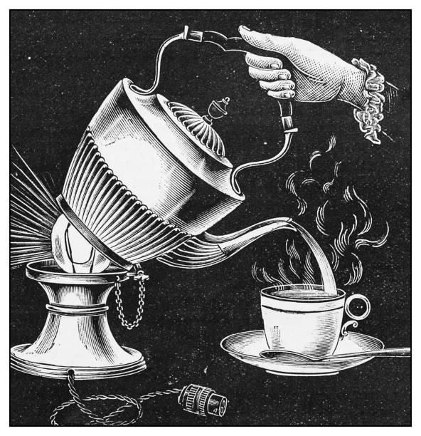 Antique illustration: Electric tea kettle vector art illustration