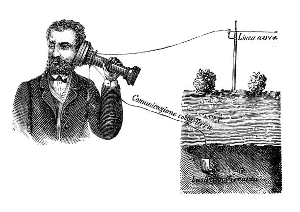 Antique illustration: Electrical machine telephone vector art illustration