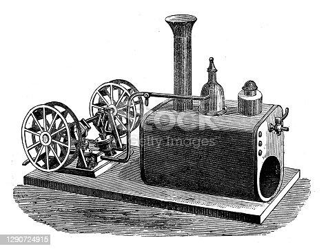 Antique illustration: Engine for paddle-boat