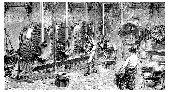 Antique illustration engraving of manufacturing industry: Chocolate dragees production