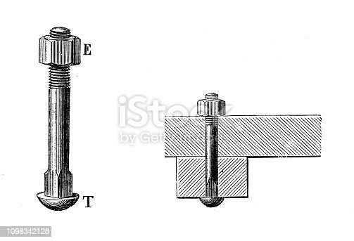 Antique illustration engraving of manufacturing industry: Nails, bolts and screws production