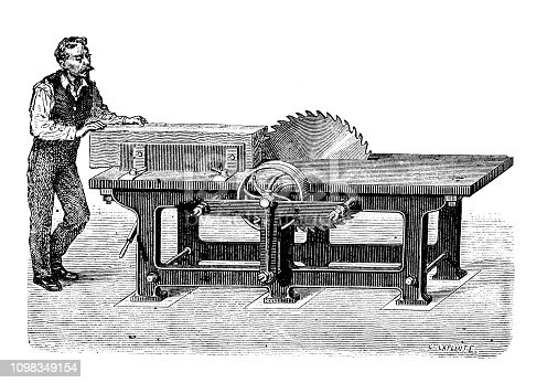 Antique illustration engraving of manufacturing industry: Saw