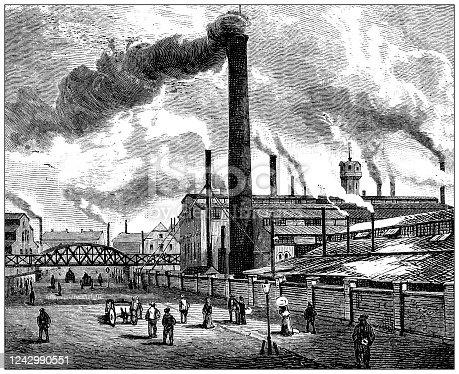 istock Antique illustration: Essen steel industry 1242990551