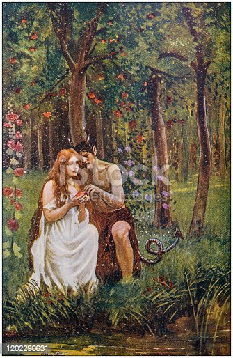 Antique Illustration: Eve and devil