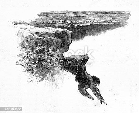 Antique illustration: Falling