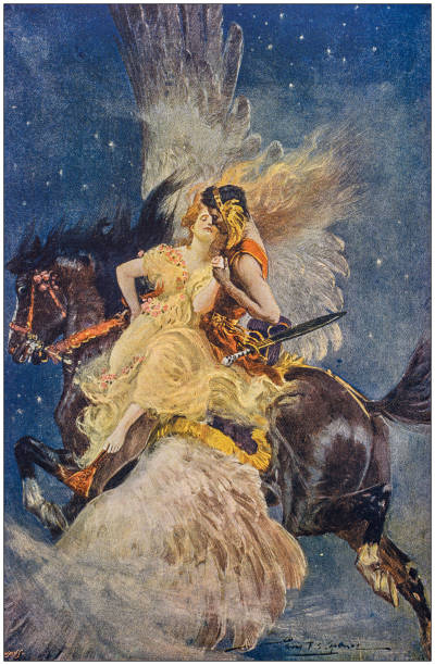 Antique Illustration: Fantasy fable vector art illustration