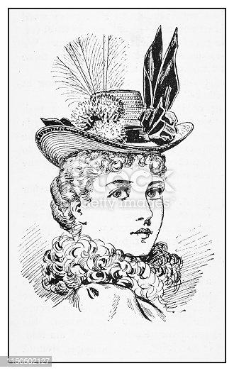 Antique illustration: Fashion model