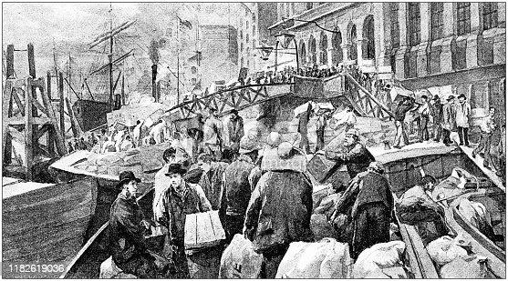 istock Antique illustration: Fish Market at Billingsgate 1182619036