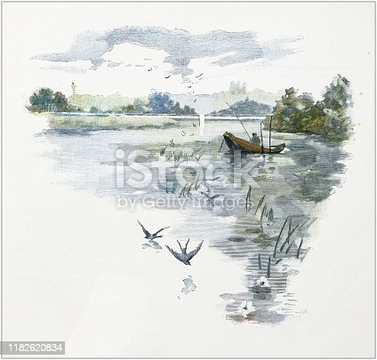 Antique illustration: Fishermen