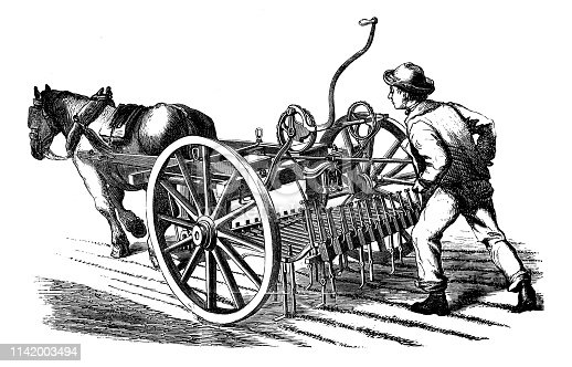 Antique illustration from agriculture encyclopedia tools and techniques: Sowing seeder machine