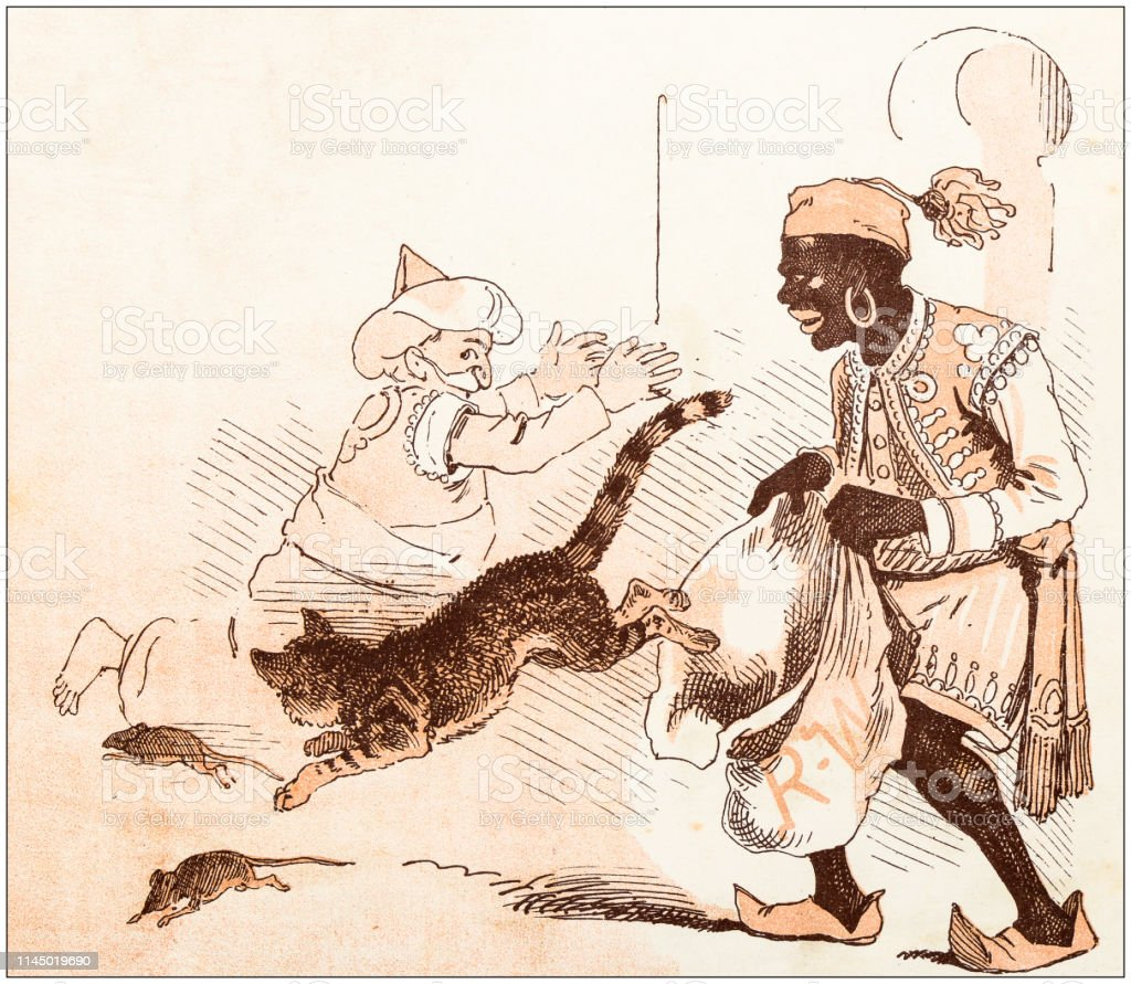 Antique illustration from fables picture book: Dick Whittington and...