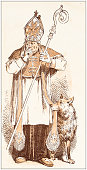 Antique illustration from fables picture book: The king and the abbot of Canterbury