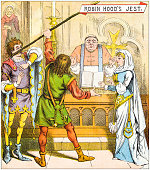Antique illustration from fables picture book: The marriage of Allan-a-Dale