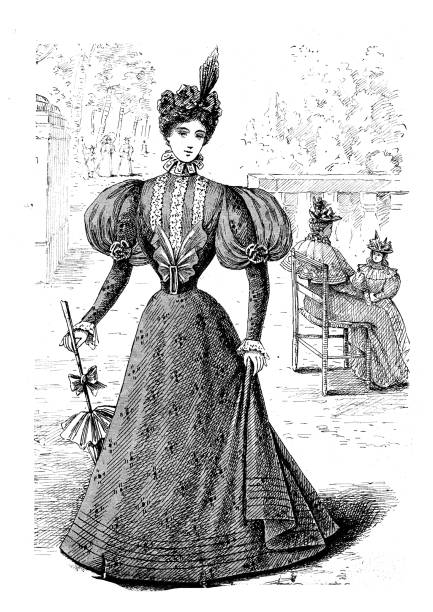 Antique illustration from French fashion magazine Antique illustration from French fashion magazine corset stock illustrations