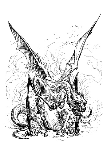 Antique illustration from mountaineering book: Dragon