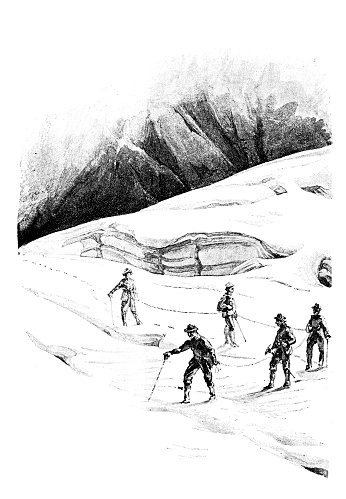 Antique illustration from mountaineering book