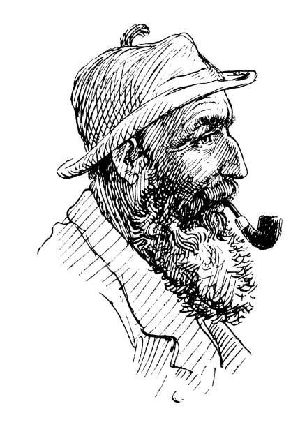 antique illustration from mountaineering book: senior mountaineer - old man smoking pipe drawing stock illustrations, clip art, cartoons, & icons