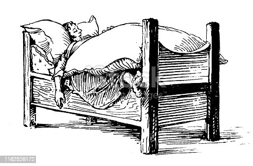 Antique illustration from mountaineering book: Sleeping in bed