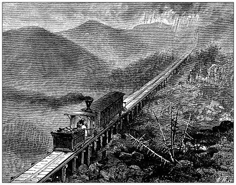 Antique illustration from school atlas: Railway on Mount Washington