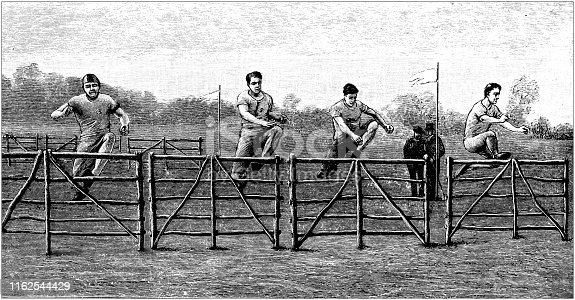Antique illustration from sport book: Hurdles race