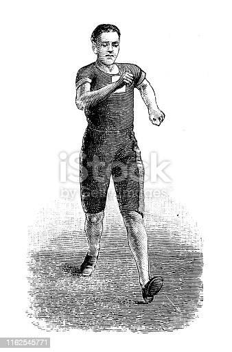 Antique illustration from sport book: Racewalking