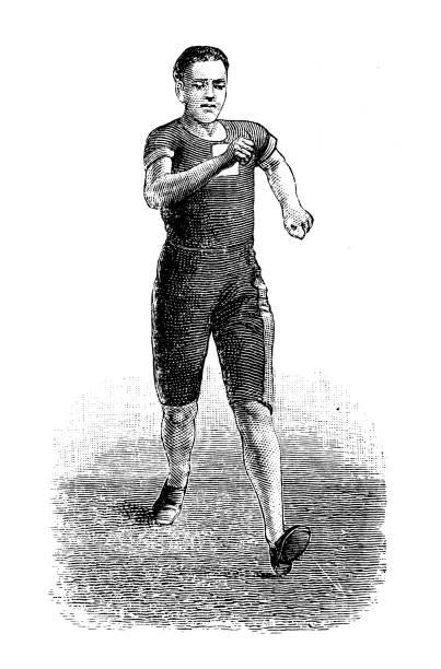 Antique illustration from sport book: Racewalking vector art illustration