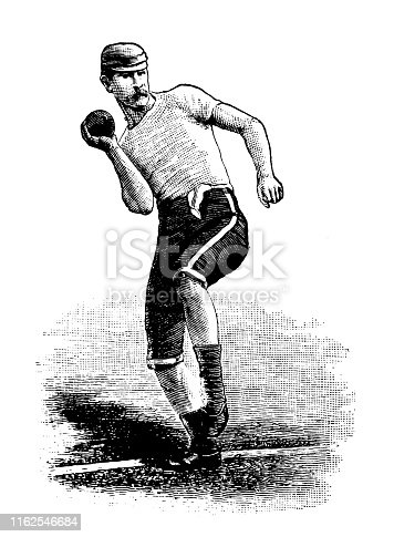 Antique illustration from sport book: Shot put
