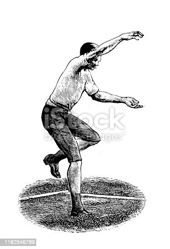Antique illustration from sport book: Shot put