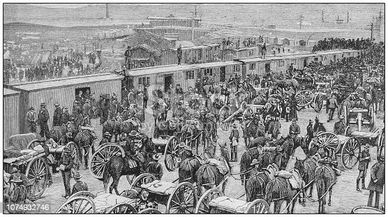 Antique illustration from US navy and army: Arrival of the third regiment of Artillery in Tampa, Florida
