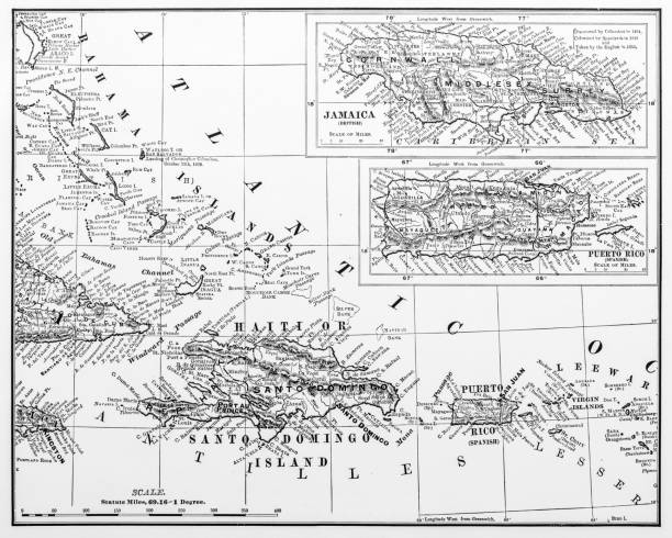 Antique illustration from US navy and army: Haiti, Jamaica and Puerto Rico Map Antique illustration from US navy and army: Haiti, Jamaica and Puerto Rico Map drawing of a haiti map stock illustrations