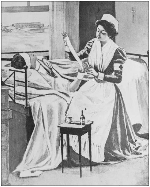 Antique illustration from US navy and army: Nurse Antique illustration from US navy and army: Nurse 1900 stock illustrations