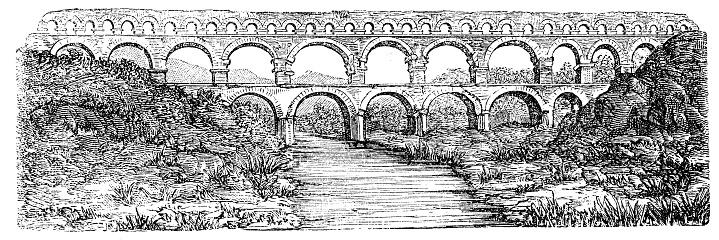 Antique illustration: Gard aqueduct