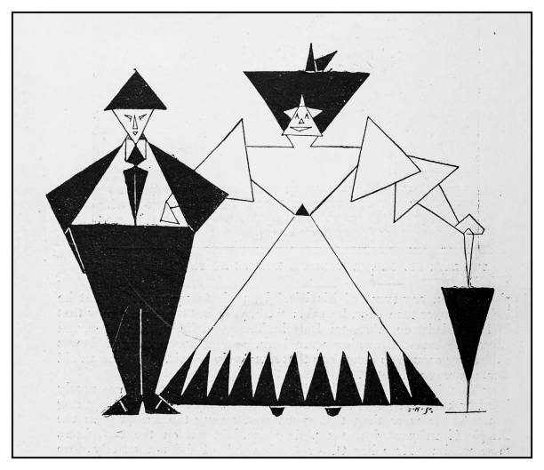 Antique illustration: Geometric couple vector art illustration