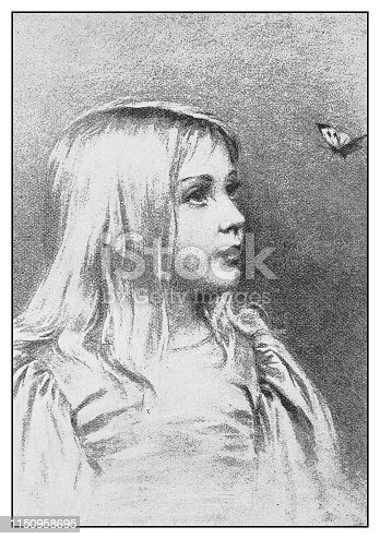 Antique illustration: Girl and butterfly