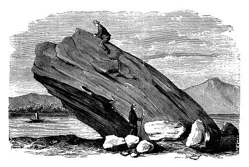 Antique illustration: Glacial erratic in Angera, Italy