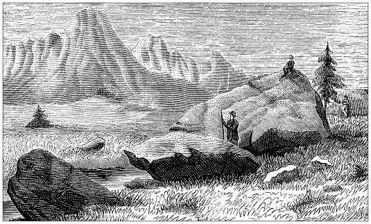 Antique illustration: Glacial erratic rocks near Clusone