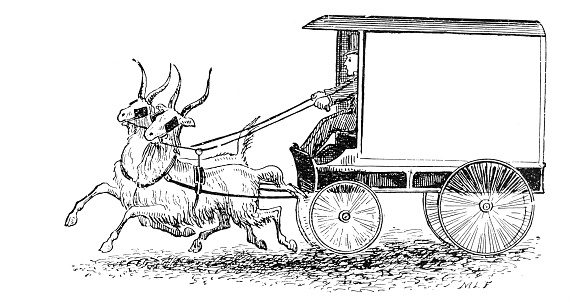 Antique illustration: Goat powered carriage